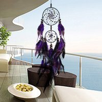 Wholesale Scroll Wall Hangings - Wholesale New Feather Crafts Purple Dream Catcher Wind Chimes Handmade Dreamcatcher Net With Feather Beads for Wall Hanging Car Home Decor