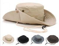 chapeaux de golf à larges bords achat en gros de-Nouvelle Arrivée Occasionnels Ourdoor Parasol Chapeau Chapeau Homburg Voyage De Pêche Ouest Cowboy Mode Seau Chapeaux Pour Hommes
