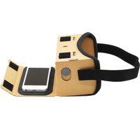 google cardboard iphone оптовых-Оптовая DIY Google VR картонные очки VR Box фильмы виртуальной реальности очки для iPhone смартфонов гарнитура