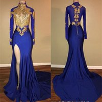 Discount long white shirt slits - Royal Blue High Neck Mermaid Prom Dresses 2018 Long Sleeves Side Slit Appliques Evening Dresses Women Arabic Party Gowns BA7711