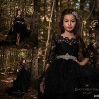 Wholesale Cheap Hi Tops - Black Princess A Line Tulle Girls Pageant Dresses 2018 Half Long Sleeves Lace Top with Crystals Belt Formal Kids Wear Cheap BA7604