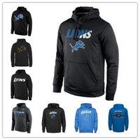ingrosso leone leggero-Felpa con logo Detroit Lions in tessuto blu scuro Felpa con cappuccio Pro Line Black Gold Pullover