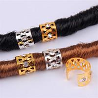 Wholesale clip dreads for sale - Group buy New Gold Silver Rhinestone Hair Dread Braids Dreadlock Beads Adjustable Braid Cuffs Clip Heart Shape Hair Extension Tool Hair Ring