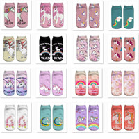 Wholesale boat accessories resale online - 3D Unicorn Printed Socks Unisex Women Men Halloween Cosplay Costume Short Boat Socks Foot Cover Sock Party Decoration WX9