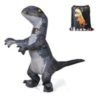детские игрушки оптовых-Мир юрского периода для взрослых Velociraptor Костюм Надувной T REX Хищник Костюм Динозавр Halloween Party party Toys для Женщин Мужчин WSJ-22