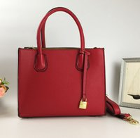 top grain leather handbags 2018 - Brand women handbag PU leather tote bag for work briefcase luxury Litchi grain leather top-handle shoulder bag Free shipping