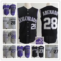 Wholesale Mens Black Vest Xxl - Mens Nolan Arenado Black Vest Jerseys Stitched white 27 Trevor Story Flex base baseball Jersey S-3XL