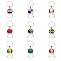 Wholesale wholesale beer holders - Russia World Cup 2018 Football beer Bottle Opener Keychains Key Rings with Flag Car Key holder Soccer Fans Men Fashion Gifts CCA8840 50pcs
