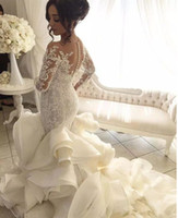 Ball Gown Wedding Dress online - 2018 mermaid Wedding Dress Ball Gown Vintage Luxury Crystal Satin V-Neck Handmade Beaded See Through Back Court Train vestido de noiva