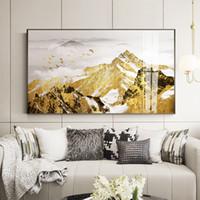pintura moderna do ouro venda por atacado-Decoração da sala de estar pintura moderna simples Gold Mountain atmosfera Jinshan pintura de cristal realista