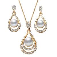zink versilbert schmuck großhandel-Schmucksets Ohrring Halskette Kunststoff Perle Zinklegierung Zubehör mit Kristall Diamant Anhänger Gold versilbert Metallkette