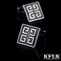 ingrosso gemelli grigi-Gemelli della camicia dei gioielli di Kflk per il tasto di collegamento di polsino dello smalto di marca di Grey del Mens di alta qualità Lo sposo di lusso di cerimonia nuziale di modo libera il trasporto