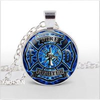 Wholesale Wholesale Firefighter Gifts - whole sale1Pcs Firefighter Fire Fighter Glass Cabochon Tibet silver pendant chain necklace