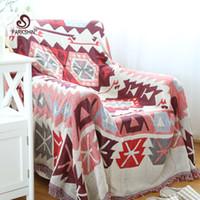 manta de algodón rojo al por mayor-Parkshin estilo nórdico alta calidad Keep Warm Blanket 100% algodón rojo patrón geométrico Soft Sofa cubierta cómoda cama BLanket