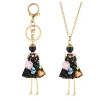 Wholesale Woman Fashion Doll Dresses - 2018 Cute Flower Dress Doll Necklace Pendants Jewelry New Fashion Kids Pendant Key Chains Bag Charms Accessories For Women Christmas Gifts