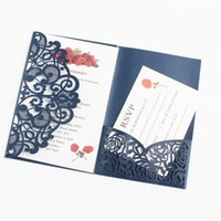 customize birthday invitation UK - Rustic wedding invitations navy blue pocket tri-fold laser cut rose customized printing marriage engagement wedding supplies