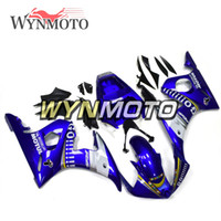 yamaha r6 körper kit weiß großhandel-Motorrad Body Kit Blau Weiß ABS Einspritzung Karosserie Für Yamaha YZF-600 R6 Jahr 2003 - 2004 Komplette Verkleidung Kit Body Kit Cowling