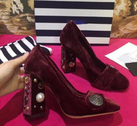 ingrosso pompe bougainte per le donne-2018 Sweet Hot Black / Burgundy / Purple Flock Pumps Pearl Stamp Shoes Chunky Heel Shallow Women Pumps