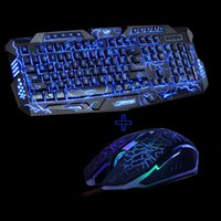 Wholesale gaming keyboard mouse combo - M200 Purple Blue Red LED Breathing Backlight Pro Gaming Keyboard Mouse Combos USB Wired Full Key Professional Mouse Keyboard