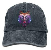ingrosso tintura dello spazio-Universe Galaxy Wolf Cool Space Wolf Classic Unisex Berretto da baseball Cappello regolabile tinto in cotone Ball Hat Multi-colore opzionale
