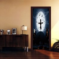 wall decor stickers people Canada - Halloween unique Witch Bat Door Sticker Wallpaper wall Decal adesivo de parede Home Decoration Mural Waterproof Removable Living Room Decor
