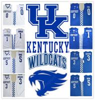 Wholesale red hot fox - 2018 HOT Kentucky Wildcats COLLEGE NCAA Stitched embroidery Aaron Fox 0 Devin Booker 1 Swingman Adebayo 3 jerseys Malik Monk 5