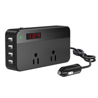 Wholesale Inverter Screen - 200W Car Power Inverter DC 12V to 110V AC DC Adapter 4 USB Ports Charger Adapter Car Plug Converter with Switch and Currency LCD Screen
