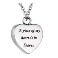 Wholesale pendant carved rose resale online - Funeral jewelry carved writing a piece of my heart in my haven heart perfume pendant cremation stainless steel mark loved the necklace