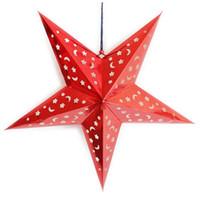 ingrosso lanterne stellate-Fashion Xmas Decor Pentagram Paralume Star Paper Lantern Hanging Wedding Accessories Rosso