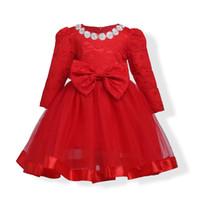 vestido floral de manga larga rojo al por mayor-2018 primavera y verano nuevas chicas europeas y americanas Falda de encaje roja para niños de manga larga Vestido de gala Princesa niña vestido de moda
