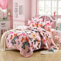 Wholesale solid green bedding for sale - Winter Bedding Set Soft Thickening Flannel Warm Beautiful Luxury Full Sheet Duvet Cover Sets Butterfly Roses