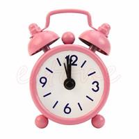 Wholesale cartoons alarm clock - Candy Colors Lovely Cartoon Alarm Clocks Dial Number Round Desk Alarm Clock For Kid House Decoration Snooze Function Clocks-W110