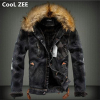 CooL ZEE 2018 Mens Denim Jacket with Fur Collar Retro Ripped Fleece Jeans Jacket and Coat for Autumn Winter S XXXXL