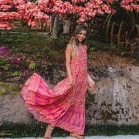 impressão de coral vermelho venda por atacado-Vintage inspirado boho dress mulheres coral vermelho 2018 verão dress button up sem mangas floral impressão flowy chique maxi vestidos vestidos