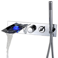ingrosso le vasche da bagno hanno condotto le luci-Rolya LED Waterfall Walltubed Bathtub Faucet Water Powered Lighting Bathing Rubinetti con doccetta cromata