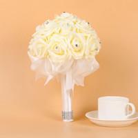 flores falsas buquês venda por atacado-21 * 18 cm flores de espuma de casamento da dama de honra rosa bouquet de noiva fita falso casamento buquê de noiva buquê De Mariage