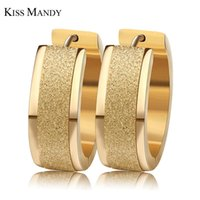 Wholesale width 7mm resale online - whole saleKISS MANDY Layers Gold color Silver Color Round Hoop Earrings With mm Frosting Surface Width Women Earrings Aretes FE15