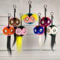 Wholesale bird keychains - Genuine Real Fur Owl Bird Bag Bug charm Monster Fur Ball pompom Charm Keychain