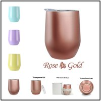 Wholesale Double Wall Beer - Drinkware Egg Shaped 9OZ Double Wall Mug Stainless Steel Beer Wine Cup Drinkware Thermos Mugs with Cups Lids