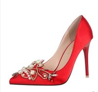 Wholesale pearl pink satin shoes online - red color satin pointy headed water drill high heeled red wedding fine with shallow pearl women s wedding party banquet bridal shoes