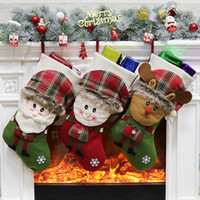 Wholesale plush santa stuff for sale - Christmas Canvas Stockings Hand Made Crafts Children Candy Gift Santa Bag Claus Snowman Deer Stocking Socks Xmas Tree christmas gift toys