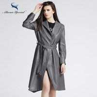 Wholesale ladies leather trench coat - Wholesale- Athena Special Spring Women PU Leather Jackets Motorcycle Street Style Ladies' Outwear Trench Coat Jacket With Belted