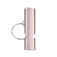 Wholesale gold whistle for sale - Group buy Double frequency Portable Alloy Aluminum Emergency Survival High Volume Whistle Outdoor Camping Hiking Tool Keychain Gold Sliver