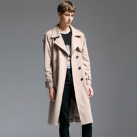 Wholesale smart casual men winter - new autumn Winter Long Coat Male Tide Smart Casual Double Breasted Adjustable Waist fashion large high quality plu size S-6XL
