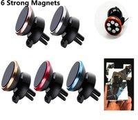 вращение магнита оптовых-6 магниты бусины авто вентиляционное крепление универсальный сильный магнитный 360 градусов вращения Держатель телефона для iPhone X Samsung S9 Huawei LG с розничной коробкой