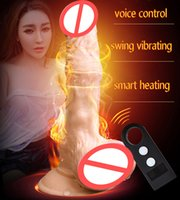 Wholesale women vibrating dildos - Sound Control Heated Swing Vibrating Dildo With Suction Cup Realistic Penis Artificial Dick Vibrator Female Masturbation Sex Toy For Woman