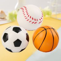 Wholesale phone charms characters - New Soccer Football Squishy Toys Baseball Basketball Volleyball Slow Rising Jumbo Squeeze Phone Charms Cream Bread Stress Reliever Gift