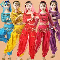 Wholesale indian costume kids online - Girls Belly Dance Costume Set Suit Kids Belly Dancing Child Bollywood Children Indian Performance Outfits Chiffon Long Sleeves