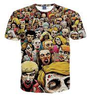 zombiler gömlek toptan satış-T-Shirt Yeni Walking Dead Erkekler T Shirt Yürüteç Kafatası Zombies Yüksek Kalite Crewneck En Tees Kısa Kollu Yaz
