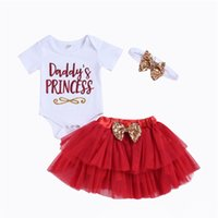 baby tutu romper red UK - Mikrdoo Baby Girl Daddy's Day Sweet 3PCS Clothes Set Short Sleeve Romper Tutu Skirt Bow Headband Toddler Cute Casual Outfit